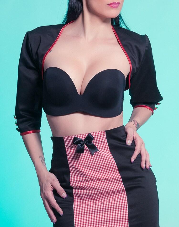Black red bolero Style La...