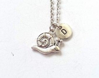Silver Snail Necklace, Charm Necklace, Snail Charm, Personalized Initial Necklace, Snail Initial Charm, Monogram Necklace (A26)