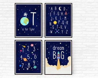 Outer Space Nursery Decor, Boy Nursery Set of 4 Prints, Printable Alphabet, Space Themed Nursery ABC Nursery Wall Art Dream Big Rocket Ship
