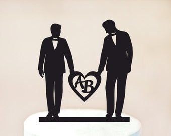Gay Wedding Cake Topper wiht heart,Gay Cake Topper wiht initials,Love Gay Cake Topper,love two mens,Gay Wedding gift, Men Gift (1007)