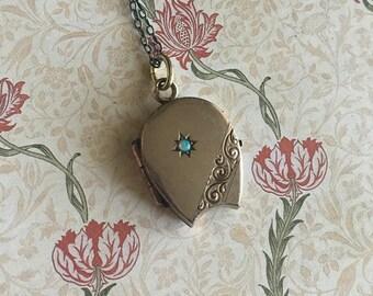 Antique Opal and Onyx Horseshoe Gold Overlay Locket | Art Nouveau Locket | Jugendstil Locket | Horseshoe Locket | Lucky Horseshoe