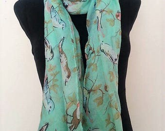 Cherry Blossom and Bird  Print Scarf, Scarves, Wrap, Shawl, Pool Cover Up, Floral Scarf, Aqu Green Scarf