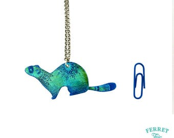 "Ferret Necklace ""Gratitude Blues"""