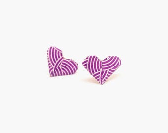 Stud earrings, heart stud earrings, heart earrings, origami earrings, paper earrings, origami jewelry, purple earrings, jewelry