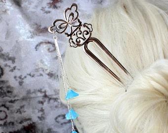 bridal hair jewelry hair pin winter wedding accessory blue hair slide blue bridesmaid gifts hair stick hair decor blue butterfly wedding h17