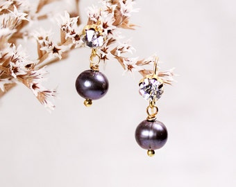 black/pearl/earrings bridal jewelry pearl dangles purple/gold/bridal/gift/for/her winter wedding earrings bridesmaid/gifts/pearl black SJ26