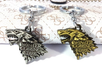 Game of Thrones Keyring, Stark, Winter is coming, Got Keyring, Keyrgins, Wolf, Winter Is Coming, Stark, GOT gift, Stark, Wolf, Charm, winter