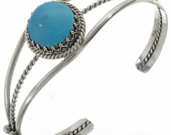 Navajo Jewelry Turquoise Silver Cuff  Bracelet Old Sleeping Beauty Stones