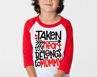 Boys Valentine's Day Shirts, Taken My Heart Belongs To Mommy, Toddler Raglan Tee, Boys Youths Tshirt, Valentine's Outfits, Kids Clothing