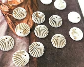 Art Deco Czech Glass Milk White Bead Pendant Charms 15mm (16)