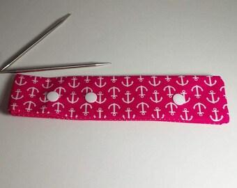 Pink Anchor Print Circular Needle Holder/ DPN Holder for knitting or crochet
