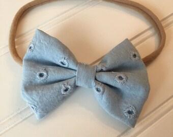 Blue eyelet bow/ eyelet bow/ blue bow/ blue eyelet bow on nylon headband