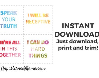 Positive Decor - Mantra Cards - Affirmation Cards - Guiding Thoughts - Office Mantras - Positivity Art - Good Vibes - Digital Download