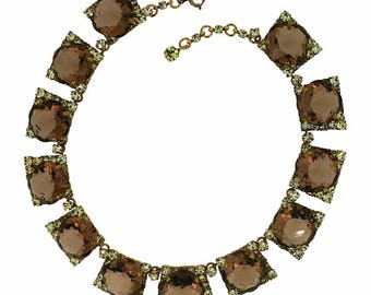 1950s Topaz and Jonquil Rhinestone Vintage Necklace