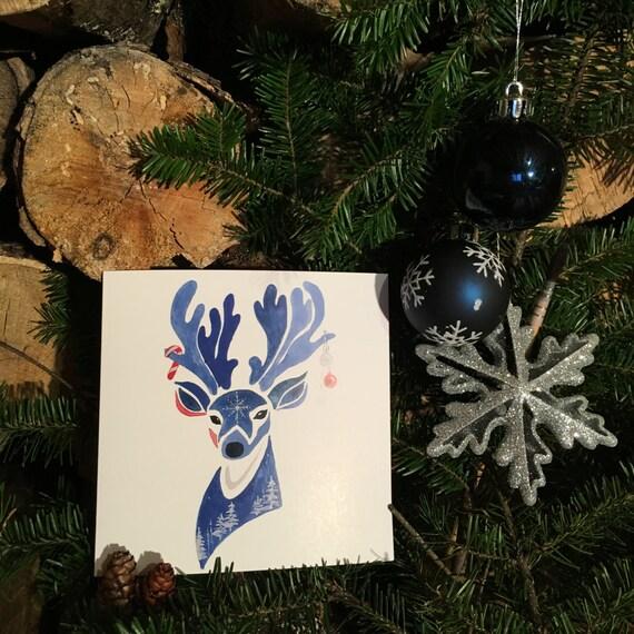 "2 greeting cards ""blue 3"" Christmas handmade watercolor * 2 Greetings cards ""Blue Christmas 3"" handmade watercolor"