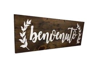 Wood Welcome Sign//Italian//Benvenuto Sign//Italian Welcome Sign//Olive Branches//Rustic Finish//Farmhouse Welcome Sign//Fixer Upper Mangia