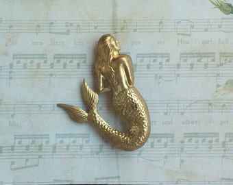 With brass Mermaid brooch