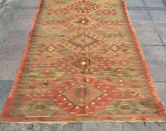 Handmade Turkish Anatolian Kilim Rug, Handwoven Turkish Traditional Kilim Rug