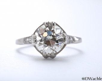 2.8CT Antique European Cut Diamond Ring