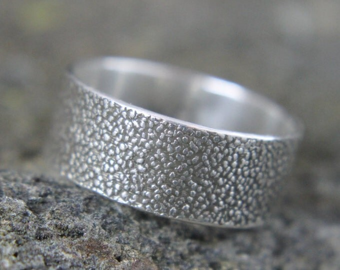 Textured Silver Ring, Stone Pattern Sterling Band, Embossed Rock Design, Rugged Chunky Wedding Band, Birthday or Valentines Day Gift for Him