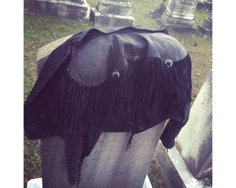 Vintage Leather Suede Fringe Concho Jacket