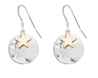Starry Night Silver and Gold Earrings