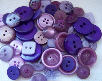 Buttons:  80 Recycled Buttons in Shades of Purple