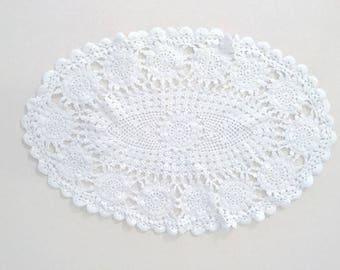 White Oval Crochet Doily