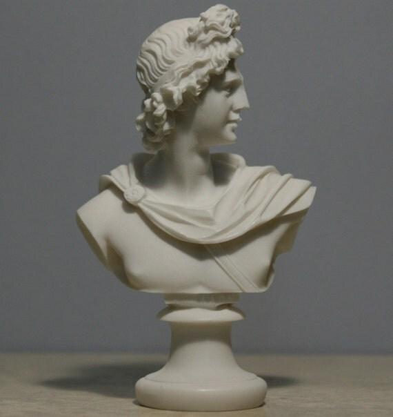 Bust Of Apollo Greek God Of Music Light Alabaster Statue