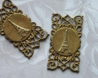 Vintage French Victorian  Eiffel Tower Filigree Stamping(1pc)Vintage French Victorian Connector/Vintage French pendant/Brass Stamping