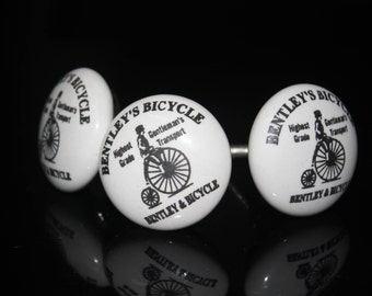 Old Bicycle design Ceramic Knob with white base Handpainted Cabinet Knob Cupboards and Dresser Drawers Knob - Price is for 1 knob (OHK0041)