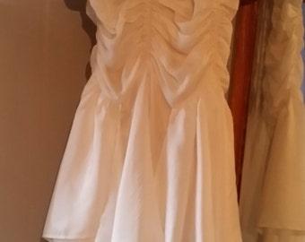 1988, English Eccentrics White Silk, Ruched Body, Handkerchief Dress