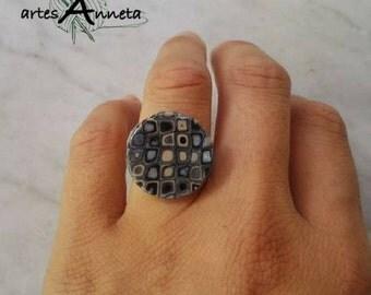 Grey retro ring in polymer clay