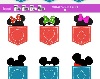 Disney svg MINNIE & MICKEY MOUSE Pocket Svg Disney Cuttable letters for Electronic Vinyl Cutter cameo Cricut Design Monogram clipart diy 129
