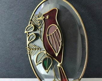 Vintage Stained Glass Red Cardinal Sun Catcher - Suncatcher Cardinal With Hanger - Brass and Glass Window Decor