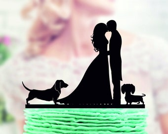 Wedding cake topper with two dogs dachshund, Couple with Dog Topper, silhouette cake topper for wedding, dog cake topper,  funny cake topper