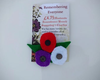 Handmade Remembrance Brooch Supporting Four Charities
