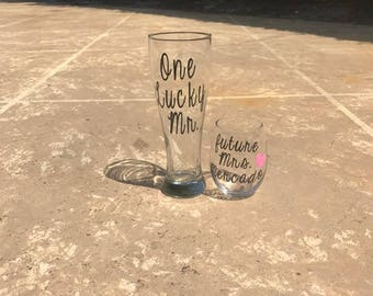 Future Mrs, One Lucky Mr, Engagement Gift, Bride and Groom Glasses, Bride to be, engagement gift for the couple, Bridal shower gifts,