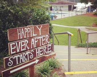 happily ever after starts here; happily ever after; wedding decor; wedding signs; reception signs; wood wedding signs; wood signs