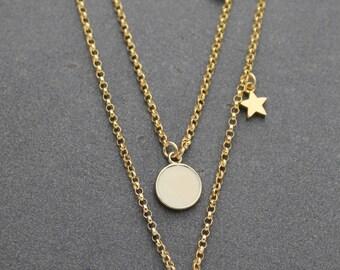 Lapis Epoxy / Ivory Epoxy Pendent Necklace with star charm/pendant necklace/circle charm necklace