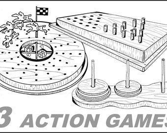 3 Action Games #701-2-3 - Woodworking / Craft Patterns.