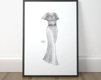 Vintage Fashion Illustration, Fashion Drawing Print, Fashion Illustration Poster, Vintage Illustration Art, Instant Download, Digital Print