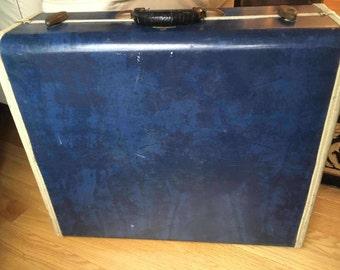 Vintage Suitcase Blue Marbled Samsonite 1950's