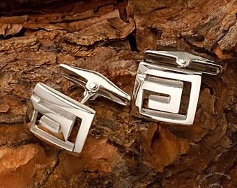 Meander Silver Cufflinks, Greek silver jewelry, Greek key, Greek key cufflinks, silver cufflinks, cufflinks