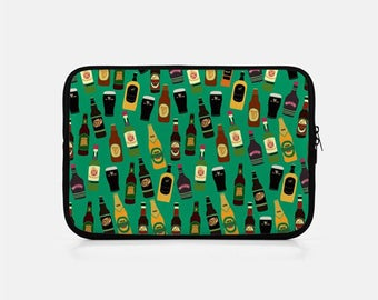 Green Laptop Sleeve, Funny Laptop Sleeve, Zipper Laptop, Neoprene, Macbook Pro 15 inch Sleeve, Tumblr Aesthetic, Tablet, Alcohol Print,