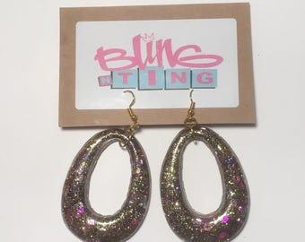 Gold/Purple Door Knocker Earrings