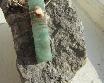 Jade & a Sea Shell Wrapped with Copper