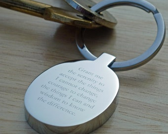 Serenity Prayer Keyring Keychain, Can Be Personalised