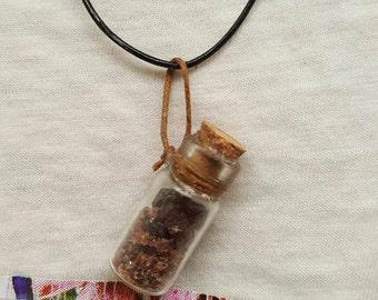 Barton Garnet Glass Vial Necklace