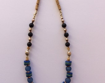 Beautiful blue recycled glass Krobo and Ethiopian metal necklace